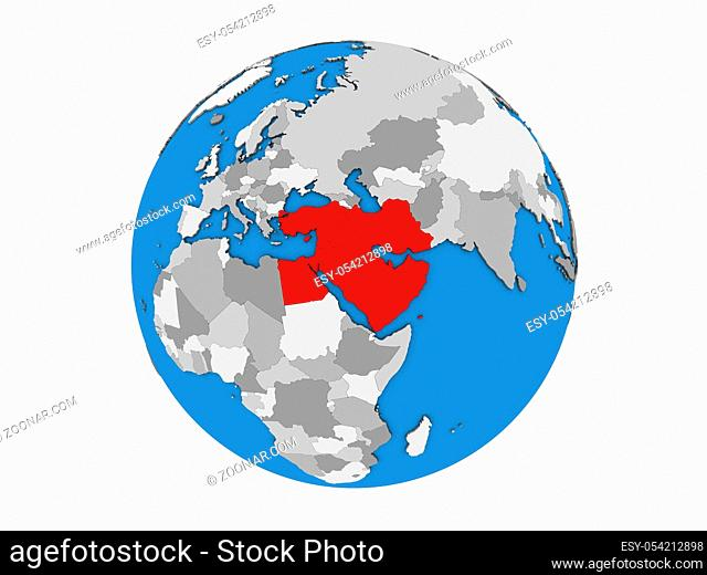 Middle East on blue political 3D globe. 3D illustration isolated on white background
