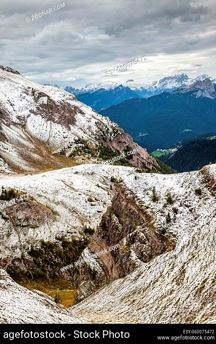 Snowy Passo di Giau in the Dolomites of Northern Italy, Europe