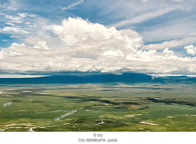 Elevated view of clouds over landscape, Ngorongoro, Arusha, Tanzania, Africa