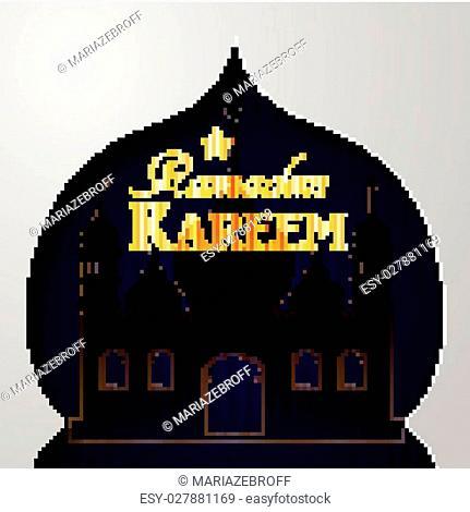 Vector illustration Silhouette of mosque on dark background with golden Ramadan Kareem in mosque paper window