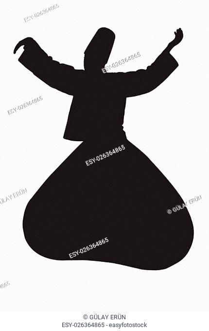 "A black whirling dervish silhouette on White """"Sama"""" is a practice of whirling as a form of dhikr, remembrance of God - Illustration"