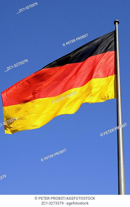 German national flag in the Government sector of Berlin - Germany