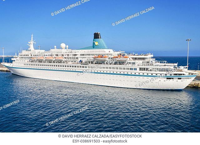 Albatros passanger cruise ship in Lanzarote harbor on November 9, 2015, Lanzarote, Canary island, Spain