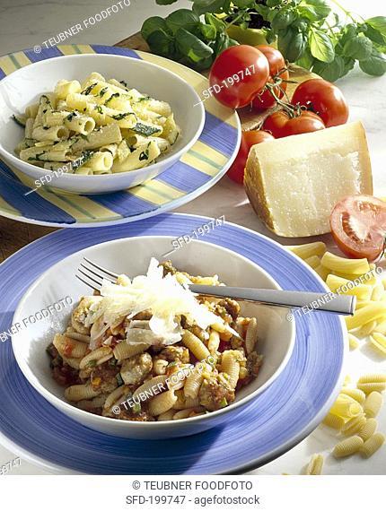 Gnocchetti with sausage ragout, rigatoni with courgettes