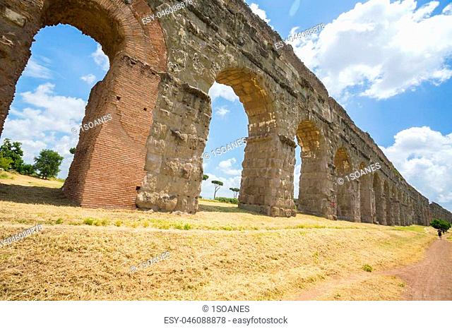 The famous Aqueduct Park in Rome, Italy, near the Appian Way