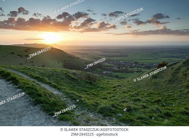 Spring sunset at Devil's Dyke, South Downs National Park near Brighton, West Sussex, England