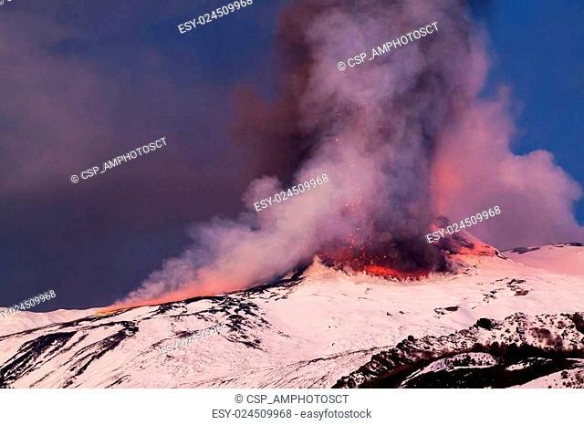 Mount Etna Eruption and lava flow