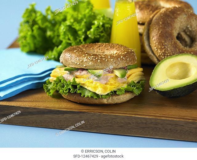 Breakfast sandwich on whole wheat bagel