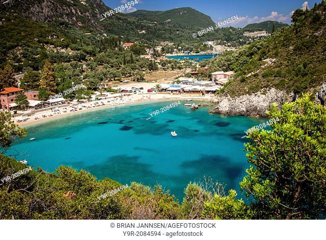 Vacation resort of Paleokastritsa on the Ionian island of Corfu, Greece