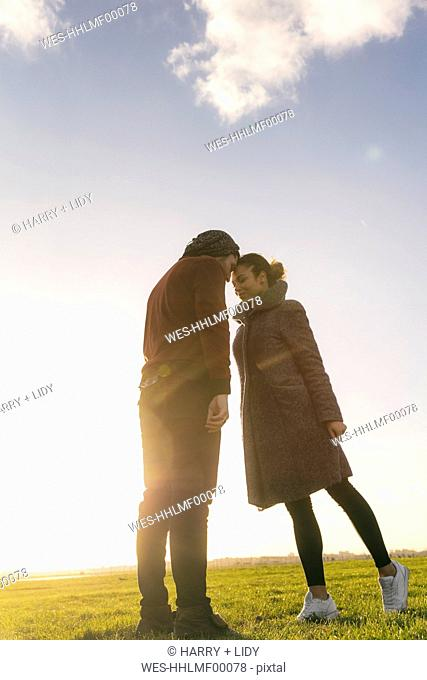 Affectionate young couple standing on a meadow at sunset