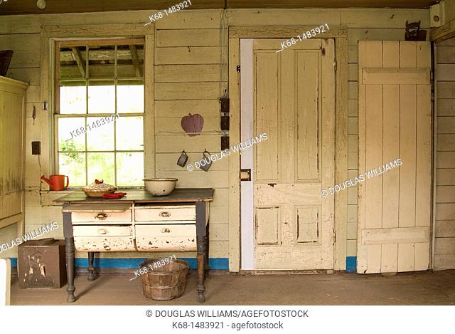 Kitchen of the historic Ruckle house at Ruckle Park, Saltspring Island, BC, Canada