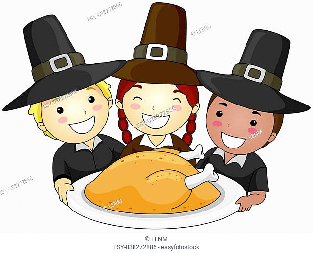 Illustration of a Small Group of Children Wearing Pilgrim's Clothes Holding a Platter of Turkey