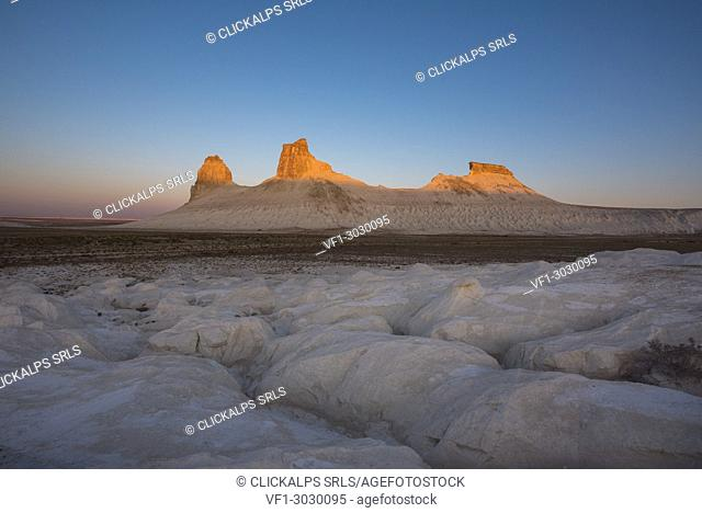 Rock formations at sunrise at Boszhira at Caspian Depression desert, Aktau, Mangystau region, Kazakhstan