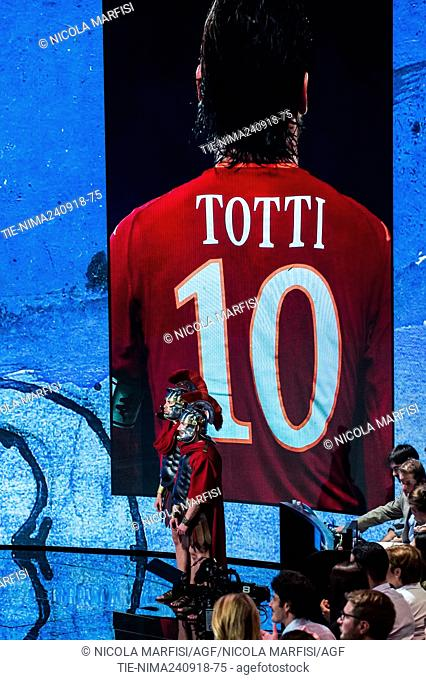 The former football player of AS Roma Francesco Totti during the tv show Che tempo che fa, Milan, ITALY-23-09-2018