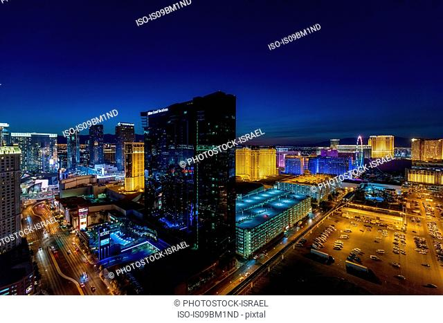 The Strip with Hilton Grand Vacations Hotel and Casino in the centre, Las Vegas, Nevada, USA