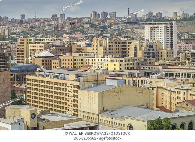 Armenia, Yerevan, high angle city skyline towards The Cascade