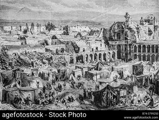 the city of arequipa in peru after the earthquake, the illustrious universe, editor michel levy 1868