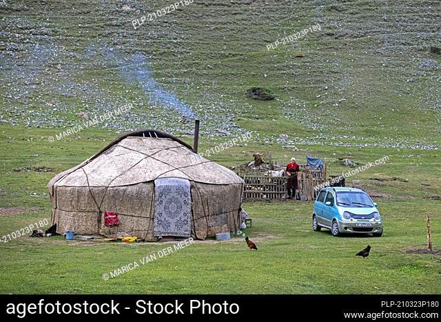 Kyrgyz yurt, temporary summer nomad dwelling near Sary-Tash in the Alay Valley of Osh Region, Kyrgyzstan