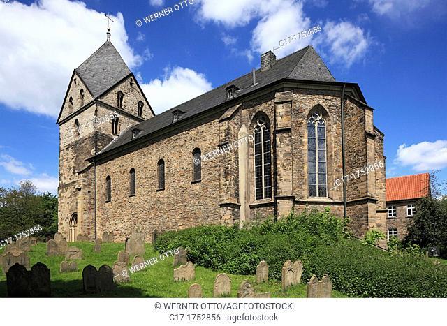 Germany, Dortmund, Ruhr area, Westphalia, North Rhine-Westphalia, NRW, Dortmund-Syburg, Ardey Hills, church St Peter zu Syburg, evangelic church, defence church