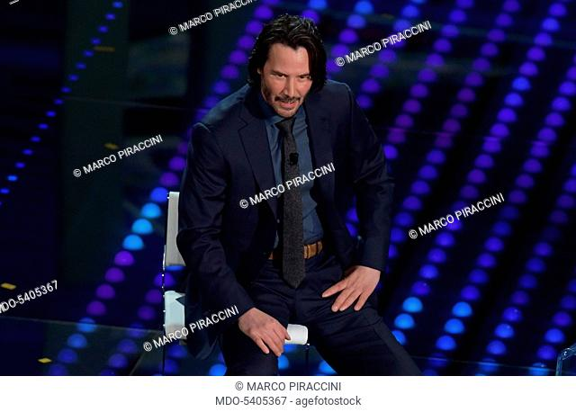 American actor Keanu Reeves at 67th Sanremo Music Festival. Sanremo (Italy), february 8, 2017