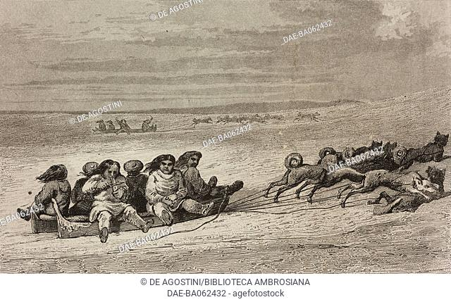 Eskimos on dog sleds, circumpolar regions, engraving by Vernier from Chili, Paraguay, Buenos-Ayres, by Cesar Famin, Patagonie