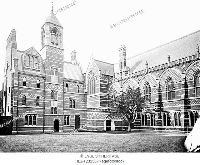 Keble College, Chapel, Parks Road, Oxford, Oxfordshire, 1880. The exterior of the chapel, designed by William Butterfield and built in 1873