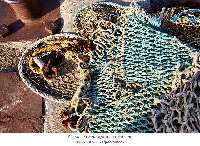 Fishing nets. Port, Saint-Jean-de-Luz, Aquitaine, Pyrenees-Atlantiques, France