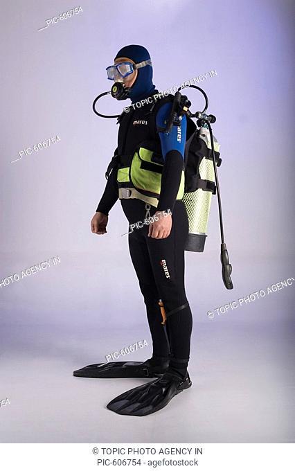 Man Wearing Diving Suit, Korean