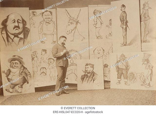 Thomas Nast with several of his caricatures, including two of himself (center top and bottom), 1888. Nasts work appeared in the Harper Weekly