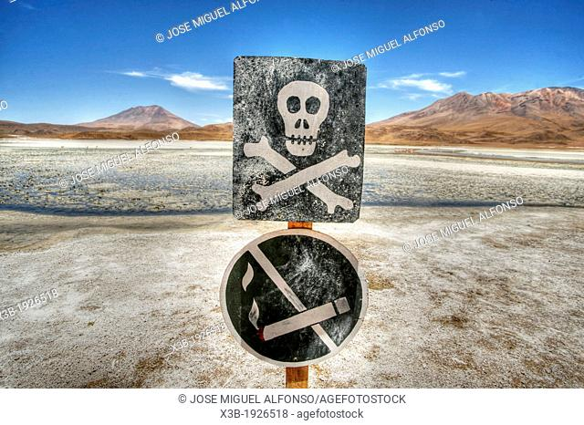 No smoking in the desert, Laguna Blanca, Atacama Desert, Bolivia