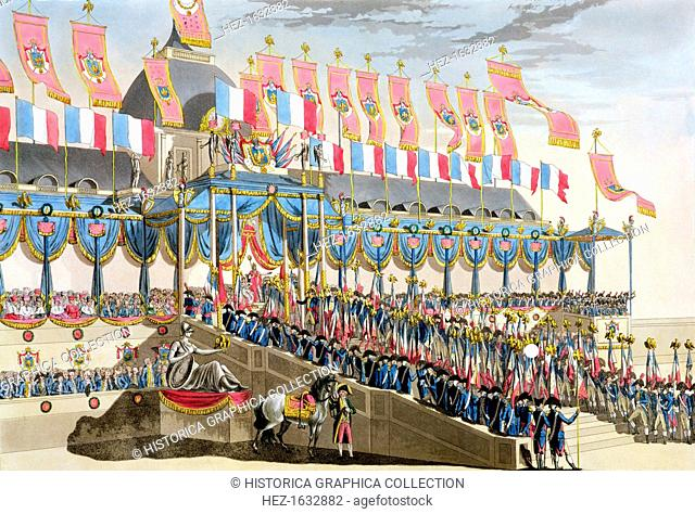 'Sacred Festival and Coronation of their Imperial Majesties', Paris, 1804 (1806). View of the decorations in front of the Ecole Militaire beside the Champ du...