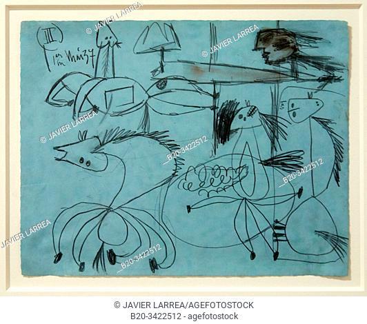 """""""Étude de composition (III). Dessin préparatoire pour """"Guernica"""" """", 1937, Pablo Picasso, 1881-1973, Musée de l'Armée, Paris, France"""