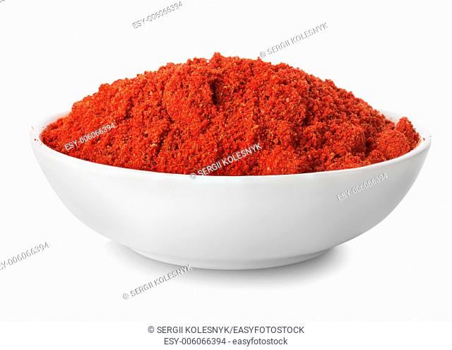 Ground paprika in plate isolated on white background