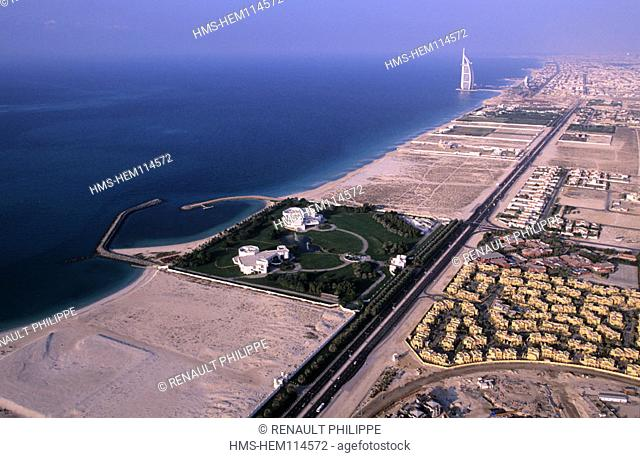 United Arab Emirates, Dubai, Jumeira beach (aerial view) and one of the residences of the Royal family (greenery)