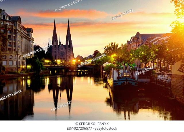 Reformed Church of St. Paul in Strasbourg at sunrise, France