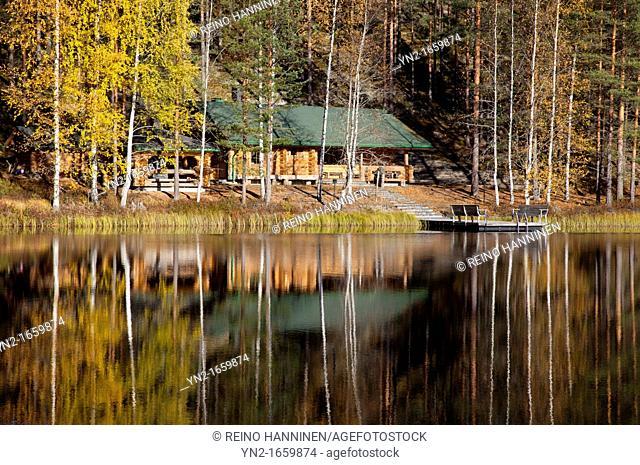 Large sauna log cabin by a lake in the forest  Location Palolampi Lintharju Suonenjoki Finland Scandinavia Europe