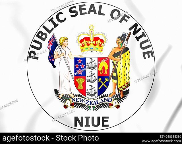 Niue Coat of Arms. 3D Illustration