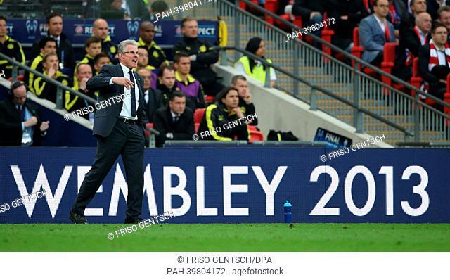 Munich's head coach Jupp Heynckes reacts during the UEFA soccer Champions League final between Borussia Dortmund and Bayern Munich at Wembley stadium in London