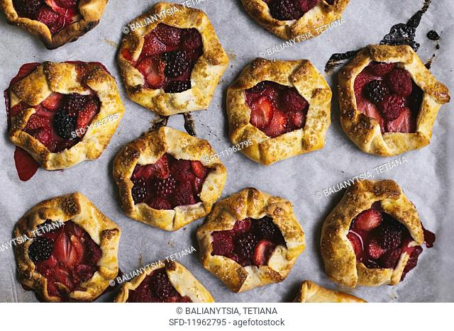 Mini berry galettes (seen from above)