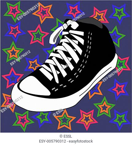 vector disco shoes and stars background