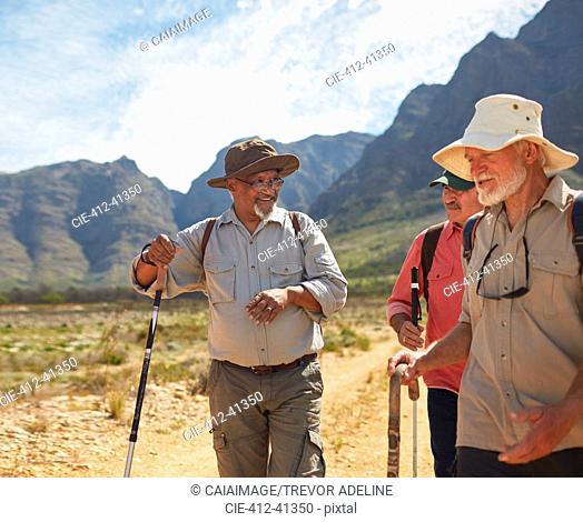 Active senior men friends hiking