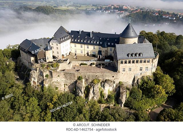 drone photo, castle of Waldeck Hotel castle Waldeck, Hesse, Germany, Europe