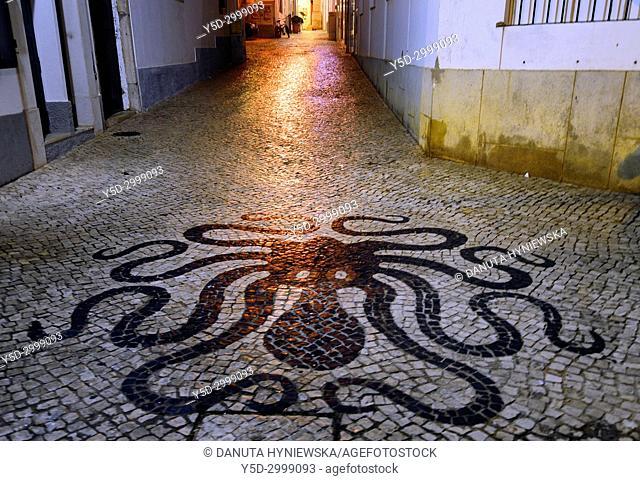 Travessa de Senhora de Graça, street scene at night, old town, Octopus - Calçada Portuguesa in foreground, historic part of Lagos, Algarve, Portugal, Europe
