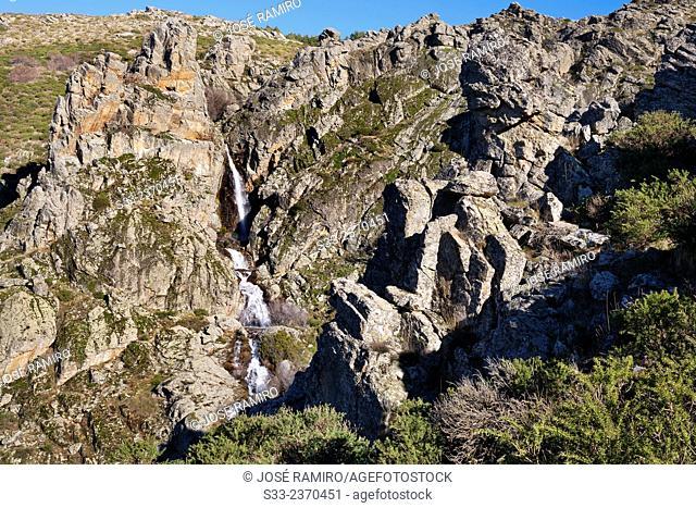 Litueros waterfall in Sierra Cebollera. Sierra Norte. Somosierra. Madrid. Spain. Europe