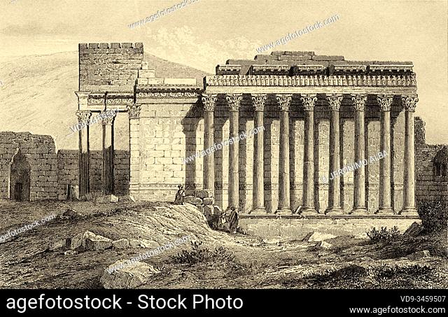 Temple of Jupiter in Baalbek, UNESCO World Heritage Site, Lebanon, Middle East. Old engraving by Lemaitre published in L'Univers Syria, in 1841