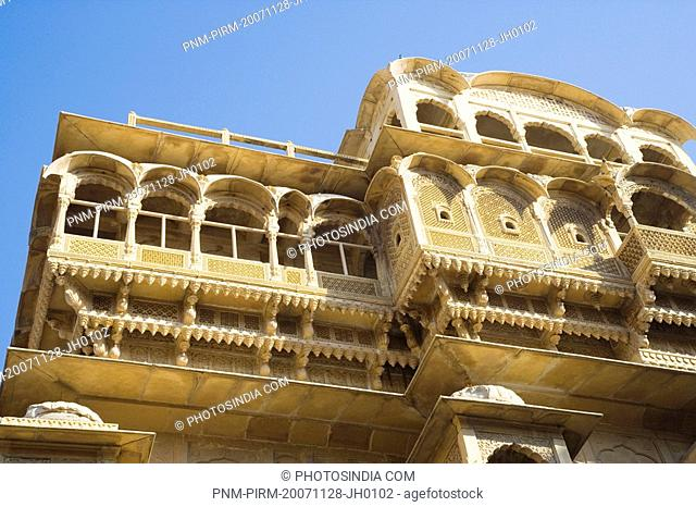 Low angle view of a temple, Jaisalmer Fort, Jaisalmer, Rajasthan, India
