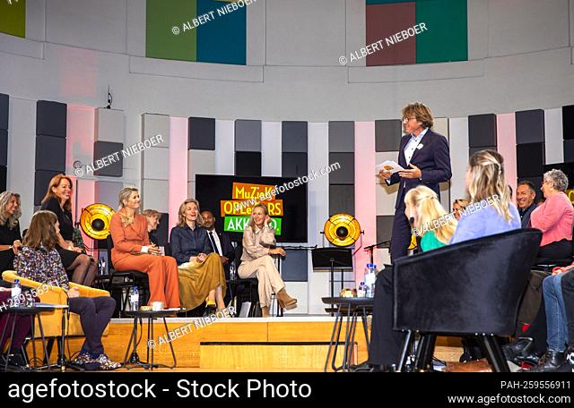 Queen Maxima of The Netherlands at the HKU Conservatorium in Utrecht, on October 06, 2021, to attend a meeting on the occasion of 1 year MuziekopleidersAkkoord...