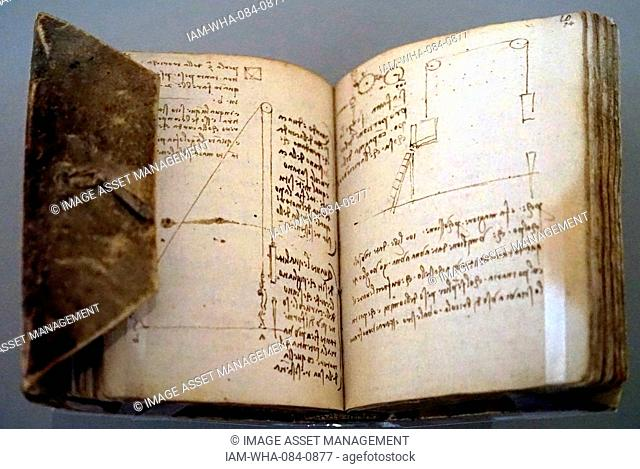 Part of The Codex Forster II, a collection of pages with notes, sketches and drawings by Leonardo da Vinci (1452-1519) an Italian polymath and artist