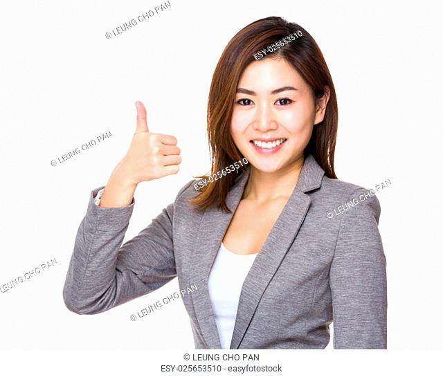 Asian young businesswoman with thumb up