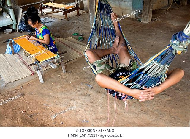 Thailand, Northeastern Thailand, Isan region, Chonnabot district, loom for the mat mii dyeing the threads of silk before weaving women weave in their homes'...
